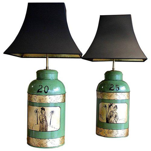 White Green & Gilt Decorated Tôle Tea Canister Lamps - A Pair For Sale - Image 8 of 8