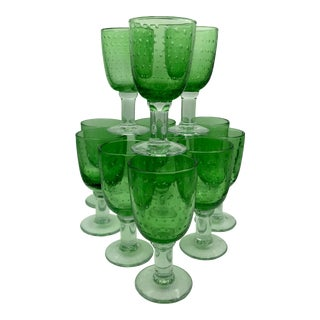 Mid-Century Controlled Bubble Bulicante Wine Glasses - Set of 12 For Sale