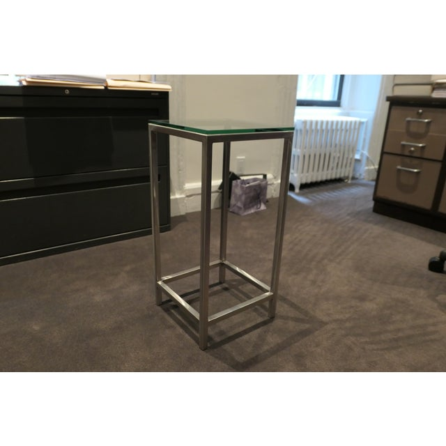 Modern Modern Chrome and Glass Top Side Table For Sale - Image 3 of 5