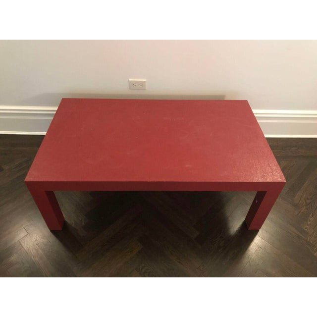 Red Lacquer Painted Parson's Style Coffee Table - Image 3 of 5