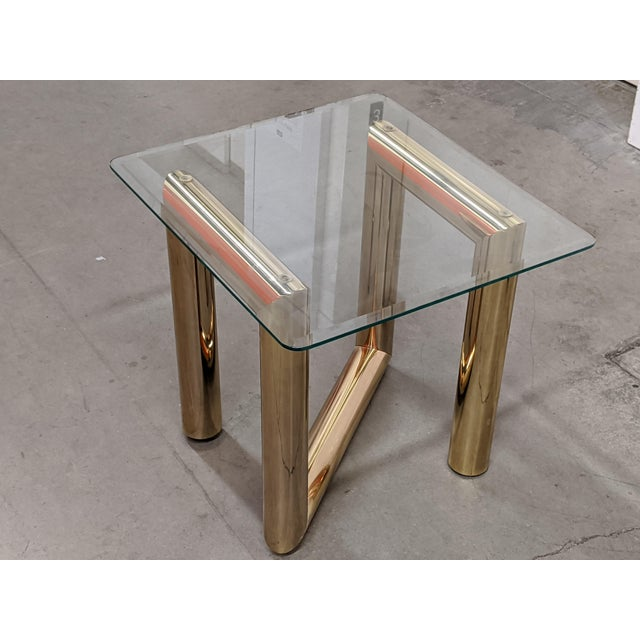1970s 1970s Brass and Glass Side Table by Karl Springer For Sale - Image 5 of 5