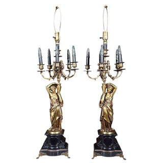 Pair of French Neoclassical Style Bronze Lamps For Sale