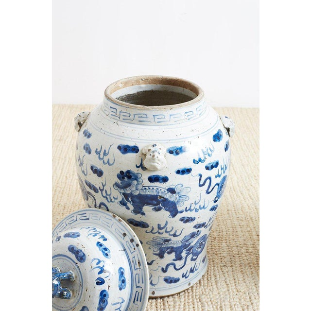 Ceramic Pair of Chinese Blue and White Ginger Jars and Foo Dogs For Sale - Image 7 of 13
