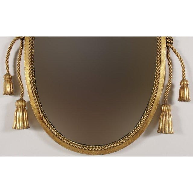 Tassel and Rope Gilt Metal Mirror For Sale - Image 4 of 5