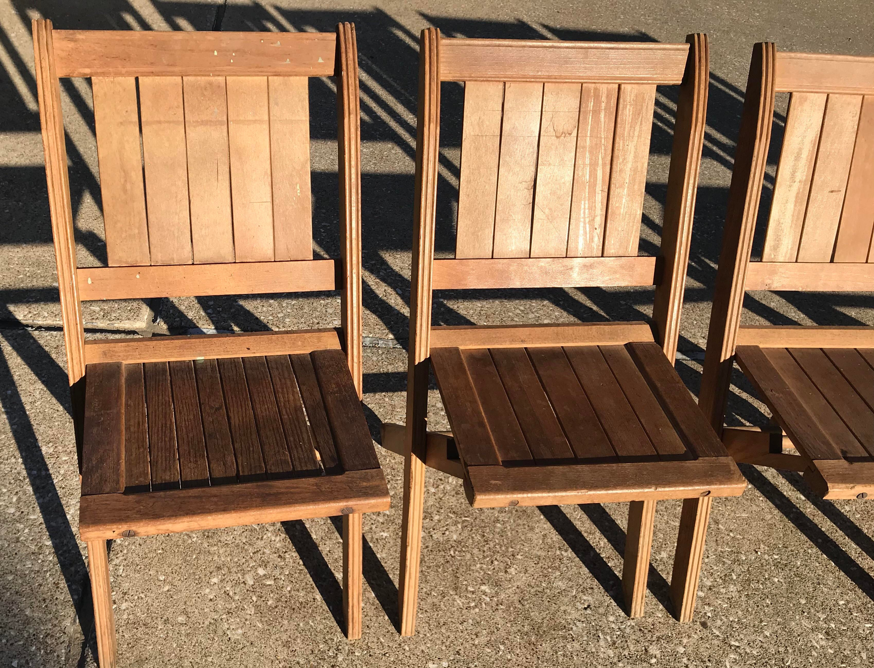 Good Vintage Wooden Folding Chairs   Set Of Six   Image 6 Of 11