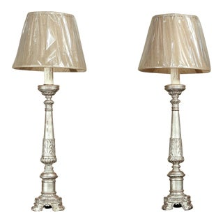 Pair Antique 19th Century Italian Silver Leaf Altar Candlestick Lamps For Sale
