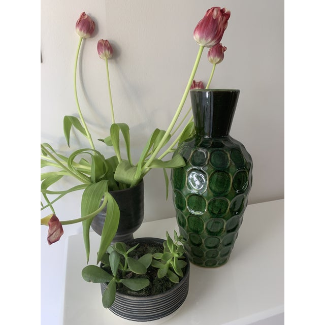 Vintage Mid Century Green Honeycomb Vase For Sale In Miami - Image 6 of 7