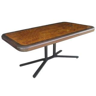 Vintage Burled Top Desk Table on a Bronze Base For Sale