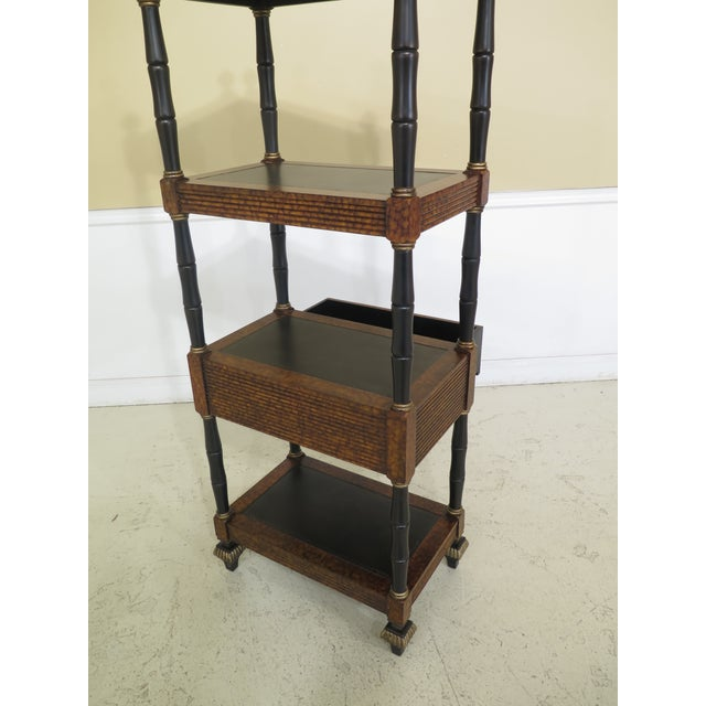 Brown Lillian August Regency Style Leather Top Tiered Bookshelf For Sale - Image 8 of 10
