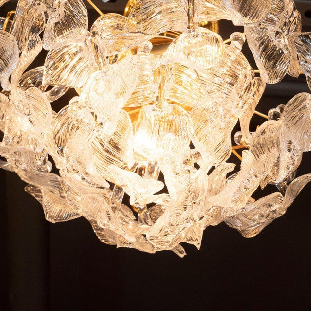 """Blown Glass Mid-Century Modern """"Leaf"""" Handblown Glass With Brass Fittings Chandelier by Camer For Sale - Image 7 of 9"""