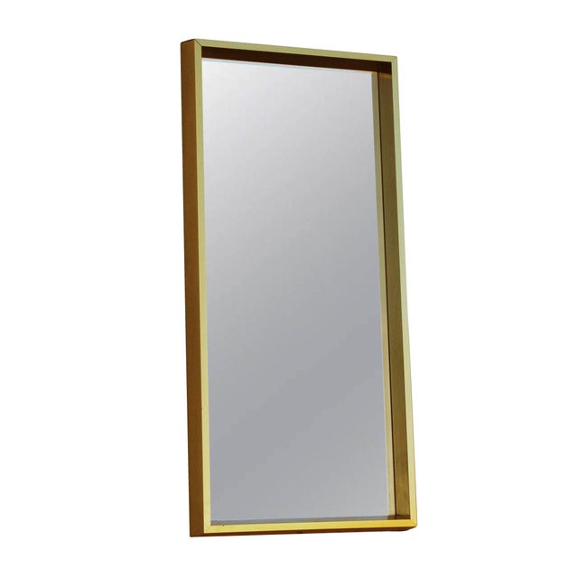 Metal Rectangular Goldtone Mirror For Sale - Image 7 of 7
