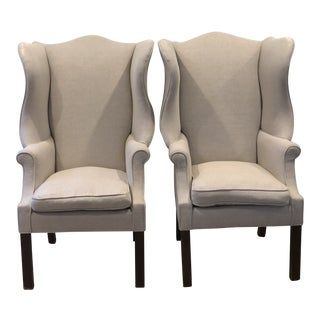 1980s Vintage Ralph Lauren Wingback Chairs- A Pair For Sale