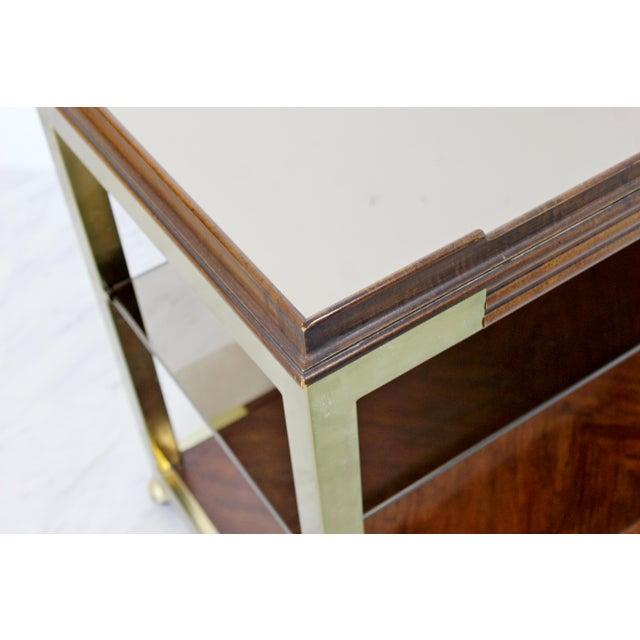 1960s 1960s Vintage Drexel Heritage Brass Wood 2-Tier Bar Cart For Sale - Image 5 of 12