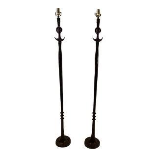Tete De Femme Metal Floor Lamps - a Pair For Sale
