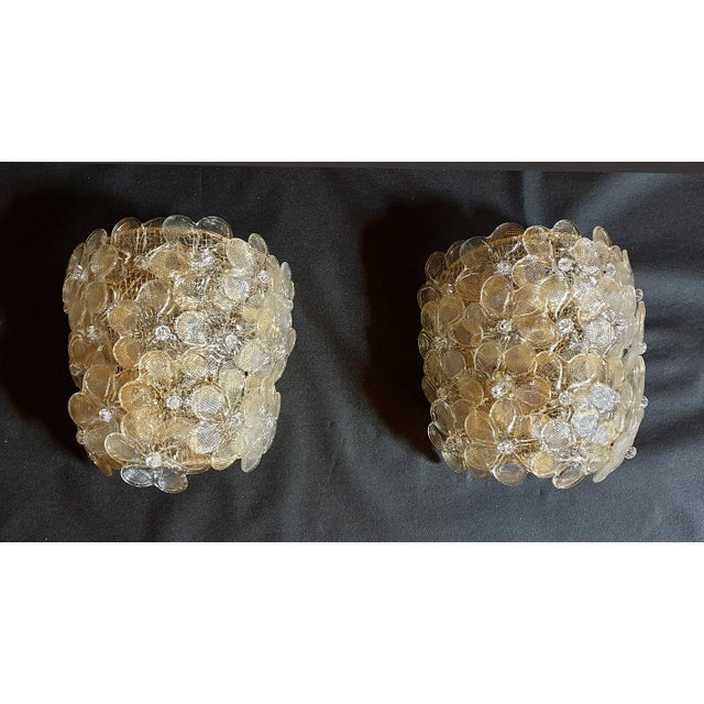Barovier & Toso Mid-Century Modern Murano Glass Gold Flower Sconces by Barovier - a Pair For Sale - Image 4 of 11