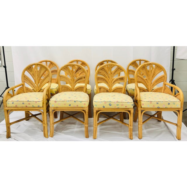 Mid-Century Modern Set of Eight Vintage Bent Rattan Chairs For Sale - Image 3 of 11