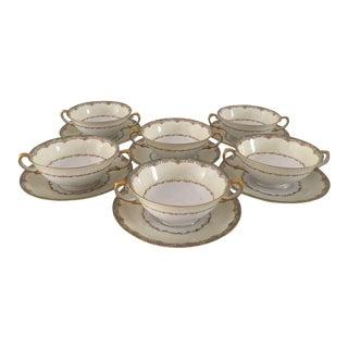 Vintage Green Bouillabaisse Cups & Saucers - Set of 6 For Sale