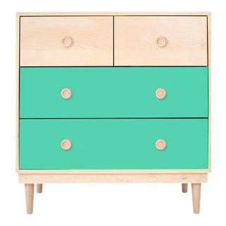 Nico & Yeye Lukka Modern Kids 4 Drawer Dresser Maple Mint For Sale