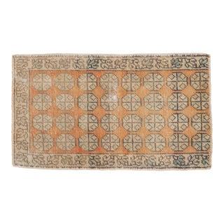 """Vintage Distressed Fragment Oushak Rug Mat - 1'7"""" X 2'8"""" For Sale"""