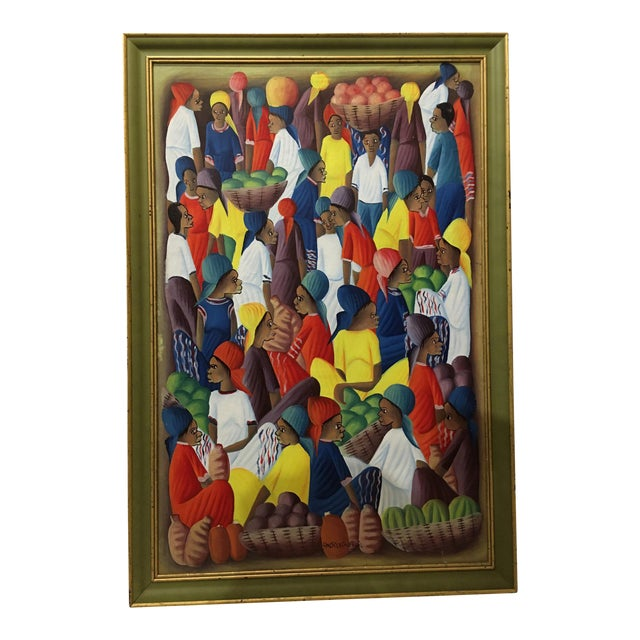 Oil on Canvas Painting of a Haitian Market by Andre Guervil For Sale