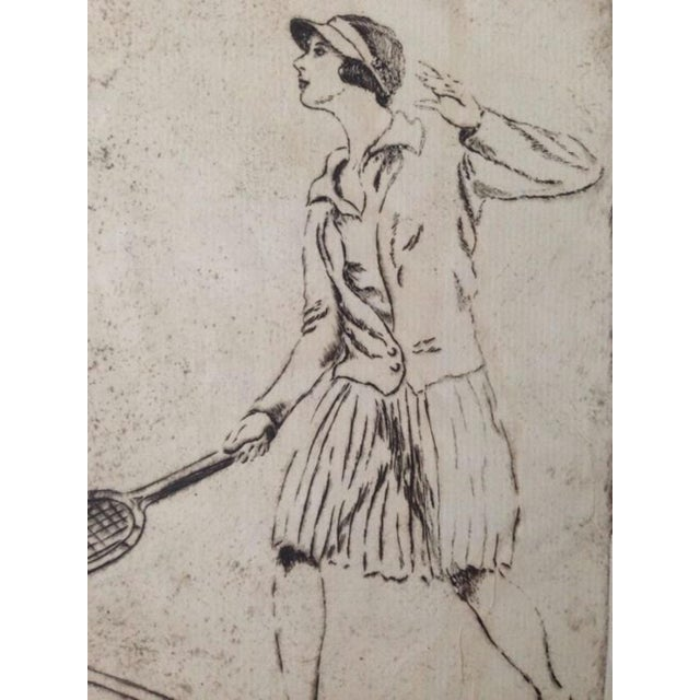 1930's Tennis Etchings Helen Moody Wills - A Pair - Image 3 of 6