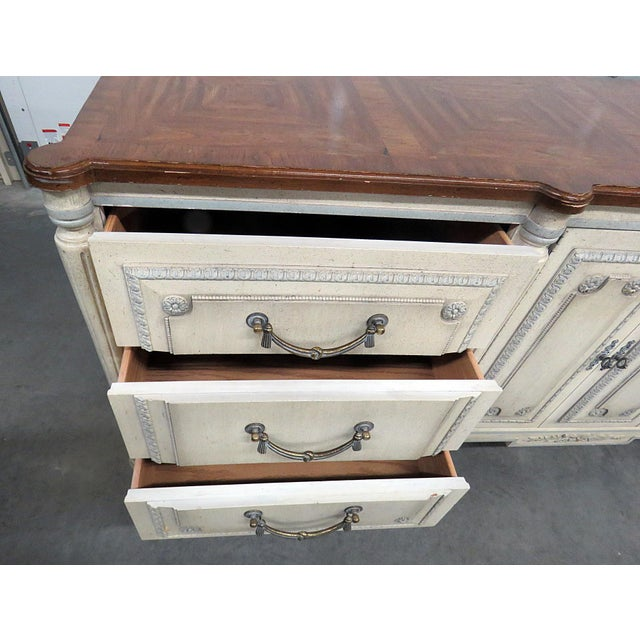 Brown Louis XV Style Fruitwood Top Distressed Painted Sideboard For Sale - Image 8 of 13