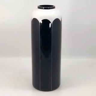 Bohemian Modernist Glass Tall Black and White Enameled Vase Preview
