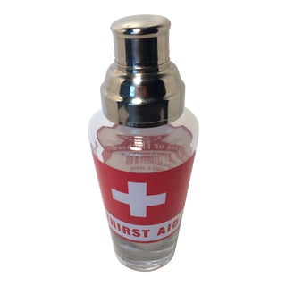 Vintage Glass First Aid Cocktail Shaker With Stainless Steel Strainer Lid