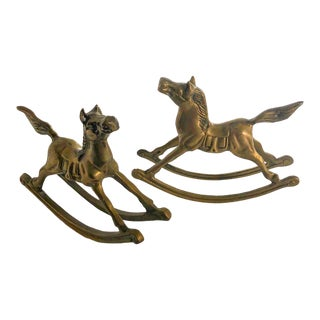 Mid Century Brass Rocking Horses, Pair For Sale
