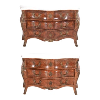 Louis XV Style Inlaid Commodes With Marble Tops Chest Dresser a Pair For Sale
