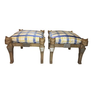 1990s Egyptian Revival Benches With Carved Lion Head Legs - a Pair