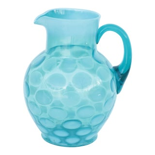 Blue Opalescent Coin Dot Spotted Pitcher For Sale