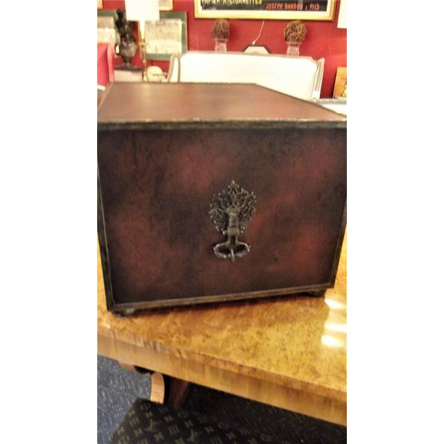Campaign Theodore Alexander Mahogany & Leather Desk Organizer For Sale -  Image 3 ... - Theodore Alexander Mahogany & Leather Desk Organizer Chairish