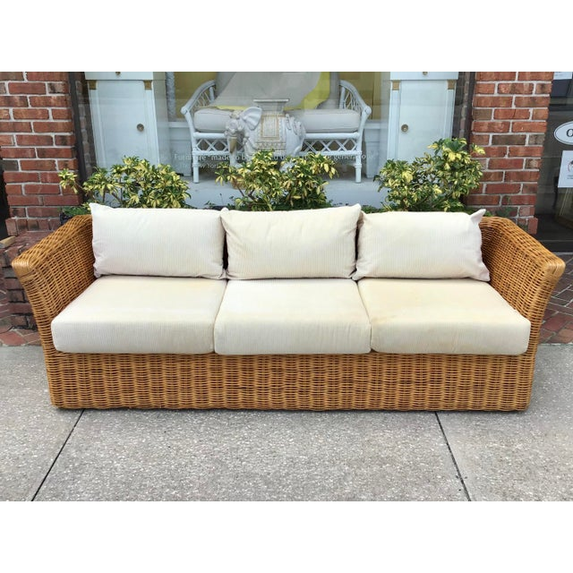 Boho Chic Boho Chic Rattan Tuxedo Sofa For Sale - Image 3 of 11