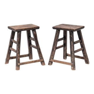 Pair of Provincial Chinese Tapered Stools For Sale