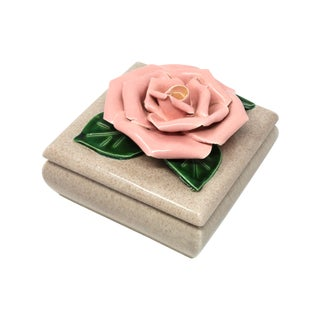 Gorgeous 1971 Chanel Inspired Camellia Ceramic Square Lidded Dish For Sale