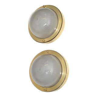 French Mid-Century Modern Holophane Glass Shade & Bronze Sconces Wall Light, Pair For Sale