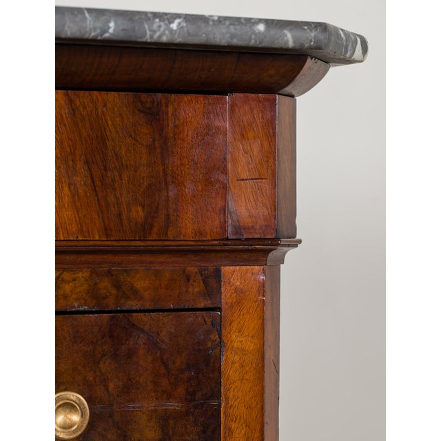Antique French Louis Philippe Burl Walnut Chest with Marble Top circa 1850 - Image 6 of 11