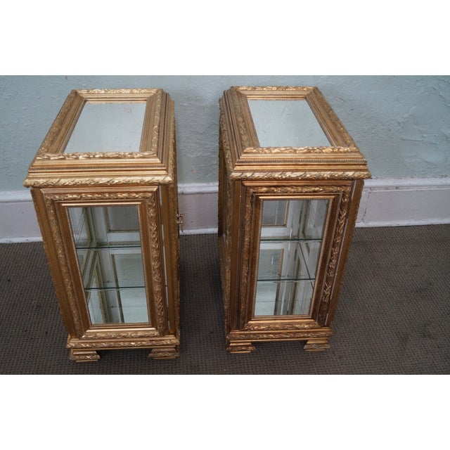 Gilt French Louis XV Vitrine End Tables - Pair - Image 8 of 10