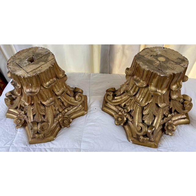 Gold 1940s Hand Carved Wood Corinthian Order Capitals - a Pair For Sale - Image 8 of 9
