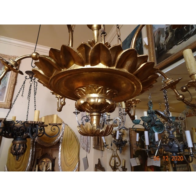 Traditional 18th Century Italian Gilt Wood Chandelier For Sale - Image 3 of 13
