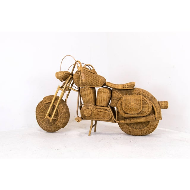 Mid 20th Century 1960s Lifesize Woven Rattan Motorcycle For Sale - Image 5 of 9