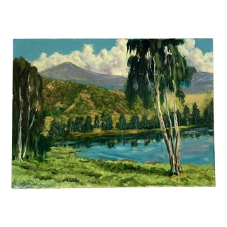 Vintage Lakeside Landscape Plein Air Oil on Canvas Painting, Signed Dick Mallow For Sale