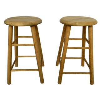 1970s Americana Hardwood Table Stools - a Pair