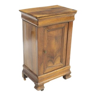 Rustic French Louis Philippe Walnut Side Cabinet Nightstand For Sale