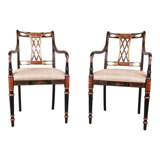 Councill Regency Ebonized Hand-Painted Armchairs, Pair For Sale