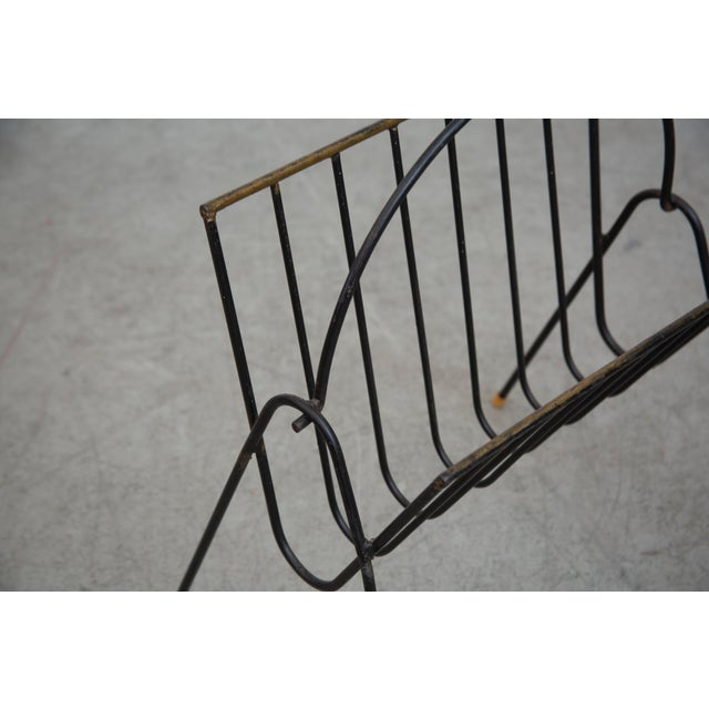 Carl Aubock Style Black Wire Magazine Rack - Image 6 of 9