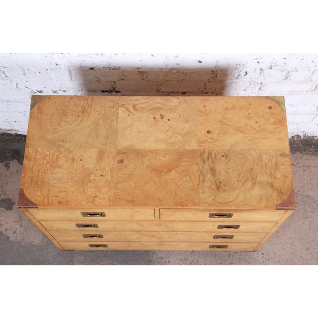 1980s Henredon Burl Wood Campaign Style Five-Drawer Dresser Chest For Sale - Image 5 of 12