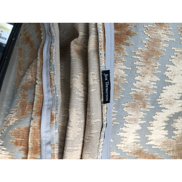 """24"""" Taupe and Blush Cut Velvet Pillows by Jim Thompson - a Pair For Sale - Image 9 of 10"""