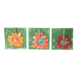 Ceramic Flower Tile Plates - Set of 3